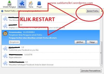 Restart Pengaya Firefox